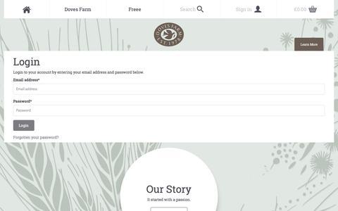 Screenshot of Login Page dovesfarm.co.uk - Organic Flour Specialists   Doves Farm - captured Oct. 12, 2017