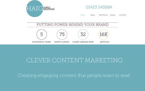 Screenshot of Home Page haigpr.co.uk - Harrogate PR agency - captured Feb. 11, 2016
