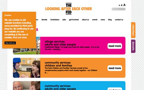 Screenshot of Services Page thefed.org.uk - Learn about The Fed's social care services in Greater Manchester - captured July 5, 2017