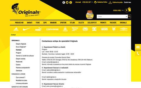 Screenshot of Contact Page originals.ro - Originals.ro - Contact - Adidasi, haine si accesorii - Magazin - captured Nov. 2, 2014