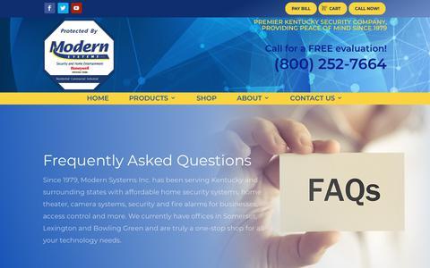 Screenshot of FAQ Page modernsystemsinc.com - FAQ   Modern Systems, Inc. - captured Sept. 21, 2018