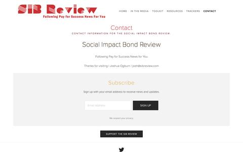 Screenshot of About Page Contact Page sibreview.com - Contact — Social Impact Bond Review - captured Dec. 2, 2016