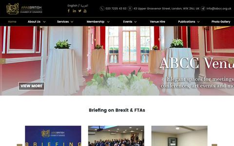 Screenshot of Home Page abcc.org.uk - Arab-British Chamber of Commerce (ABCC) - captured Oct. 4, 2018