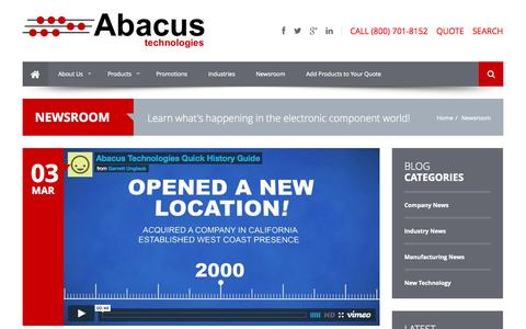 Screenshot of Press Page abacuselect.com - Electronic Component News | Abacus Technologies | Electronic Component Distributors - captured Oct. 4, 2014