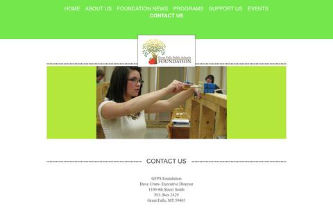 Screenshot of Contact Page gfpsfoundation.org - Great Falls Public Schools Foundation - Contact Us - captured Jan. 28, 2017