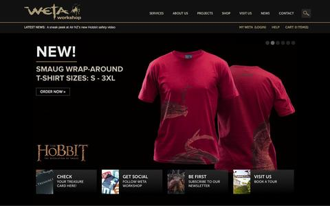 Screenshot of Home Page wetanz.com - Hobbit Collectibles, props and art and The Lord of the Rings Collectibles by the same Weta artists who worked on the movies. » WetaNZ.com - captured Sept. 19, 2014