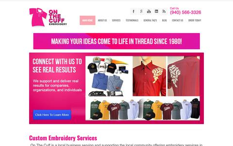 Screenshot of Home Page onthecuff.com - On The Cuff | Embroidery & Monogramming Company - captured Oct. 19, 2018