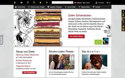 Screenshot of zotter.at - zotter Schokoladen Manufaktur: Startseite - captured Feb. 29, 2016