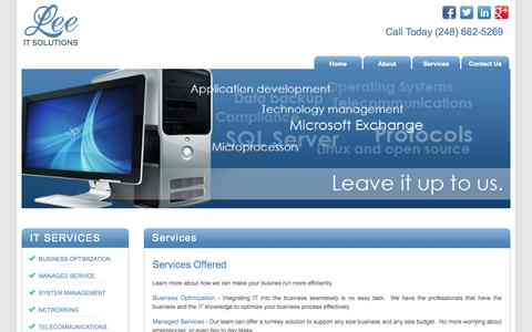 Screenshot of Services Page leeitsolutions.com - Services | Lee IT Solutions - captured Sept. 29, 2014