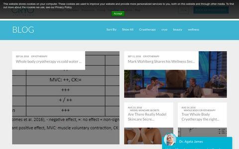 Screenshot of Blog cryo.com - Cryotherapy Blog At °CRYO   Get The Latest Cryotherapy News - captured Sept. 29, 2018