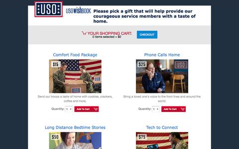 Screenshot of Landing Page uso.org - USO Wishbook | USO.org - captured Oct. 22, 2017