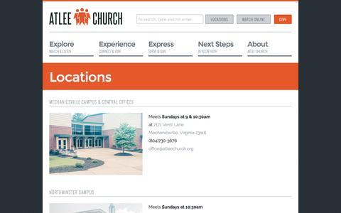 Screenshot of Locations Page atleechurch.org - Locations | Atlee Church - captured Nov. 21, 2016