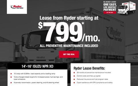 Screenshot of Landing Page ryder.com - LIMITED TIME OFFER - $799 Per Month Lease - captured Feb. 10, 2017