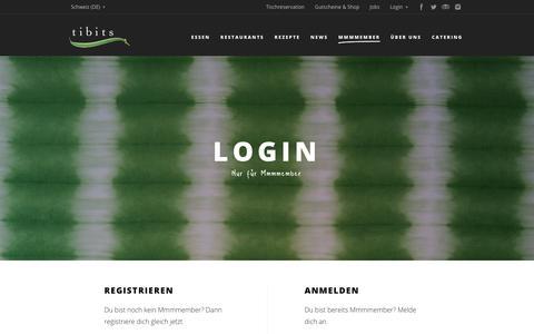 Screenshot of Login Page tibits.ch - Login - tibits - Vegetarian Restaurant Bar Take Away Catering - captured Sept. 21, 2018