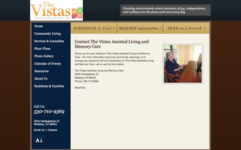 Screenshot of Contact Page vistasalf.com - Contact Us | The Vistas Assisted Living and Memory Care - captured March 30, 2016