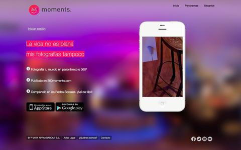 Screenshot of Home Page 360moments.com - 360moments - captured Jan. 27, 2015