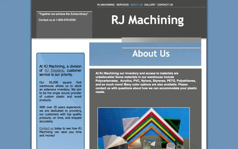 Screenshot of About Page rjmachining.com - RJ Machining will save you time and money! - captured Oct. 26, 2014