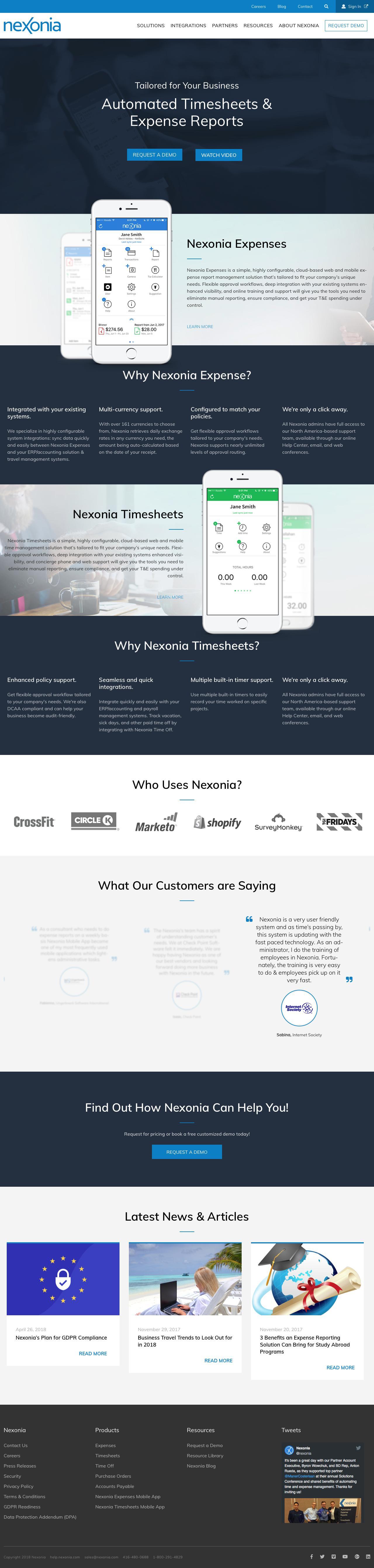 Screenshot of nexonia.com - Nexonia Home | Expense Reporting and Time Reporting Software | Nexonia - captured June 18, 2018