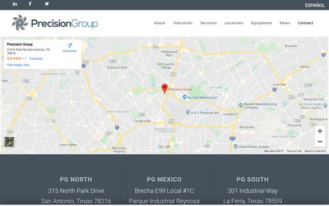 Screenshot of Contact Page precision-group.com - Request a Quote | Repair Tool Molds | Precision Group - captured Dec. 1, 2019