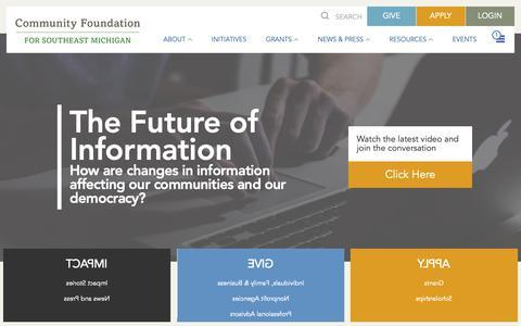 Screenshot of Home Page cfsem.org - Community Foundation for Southeast Michigan (CFSEM) : CFSEM - captured Sept. 29, 2018