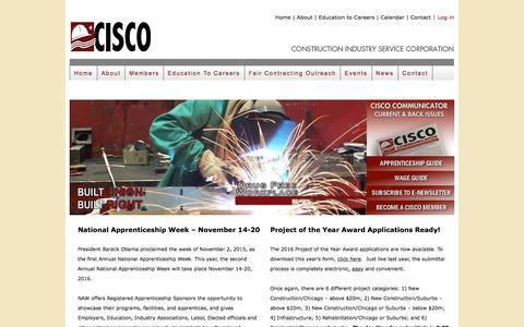 Screenshot of Home Page cisco.org - CISCO    Construction Industry Service Corporation - captured Nov. 11, 2016