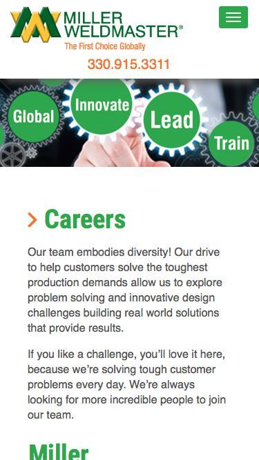 Screenshot of Jobs Page  weldmaster.com - Miller Weldmaster Careers