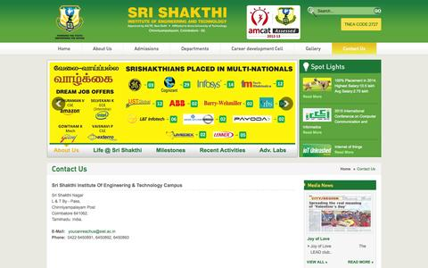 Screenshot of Contact Page siet.ac.in - SRI SHAKTHI INSTITUTE OF ENGINEERING & TECHNOLOGY - Contact Us - captured Oct. 6, 2014