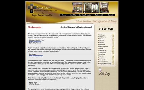 Screenshot of Testimonials Page suzylearydesigns.com - Suzy Leary Professional Design Consultant for Paper Connections Plus - captured Sept. 30, 2014