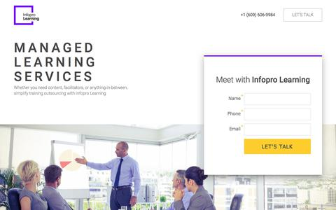 Screenshot of Landing Page infoprolearning.com - Managed Learning Services landing page - captured May 5, 2018