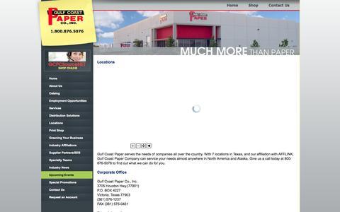 Screenshot of Locations Page gulfcoastpaper.com - Gulf Coast Paper - Locations - captured Oct. 3, 2014