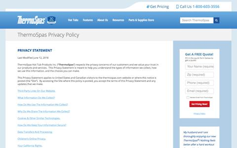 Screenshot of Privacy Page thermospas.com - Privacy Policy   ThermoSpas Hot Tubs - captured Sept. 24, 2018
