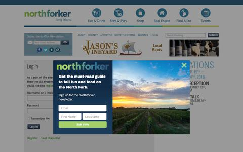 Screenshot of Login Page northforker.com - Log In - Northforker - captured Sept. 26, 2018