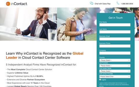 Screenshot of Landing Page incontact.com - Learn Why inContact is the Cloud Contact Center Leader - captured May 16, 2017
