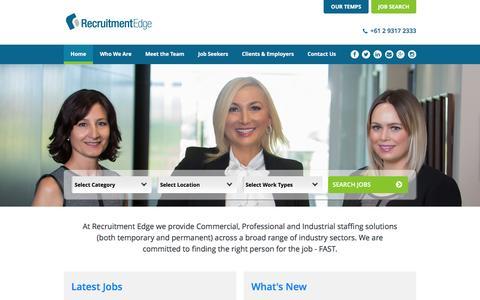 Screenshot of Home Page recruitmentedge.com.au - Recruitment Edge - captured Jan. 13, 2016