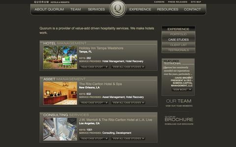Screenshot of Case Studies Page quorumhotels.com - Quorum - captured Oct. 3, 2014