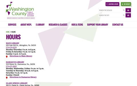 Screenshot of Hours Page wcpl.net - Hours - Washington County Public Library System - captured Dec. 2, 2016