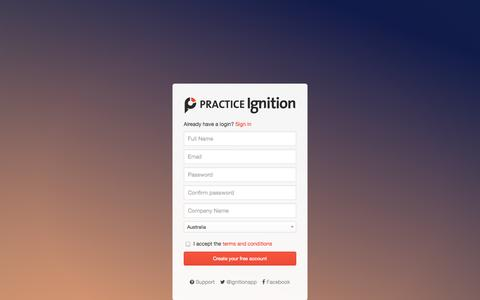Screenshot of Signup Page practiceignition.com - Practice Ignition - captured Sept. 17, 2014