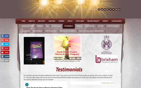 Screenshot of Testimonials Page southdevonplayers.com - Theatre company based in Brixham, Devon, England - captured April 21, 2018
