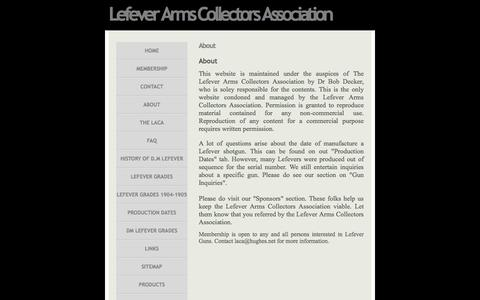 Screenshot of About Page lefevercollectors.com - About » Lefever Arms Collectors Association - Guns of Lasting Fame - captured June 10, 2016