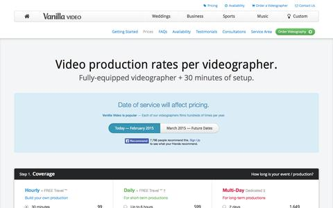 Screenshot of Pricing Page vanillavideo.com - Videography Prices | Chicago production rates from Vanilla Video - captured Oct. 10, 2014