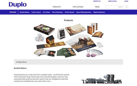 Screenshot of Products Page Menu Page duplointernational.com - Duplo International product range - Duplo International - captured June 5, 2017