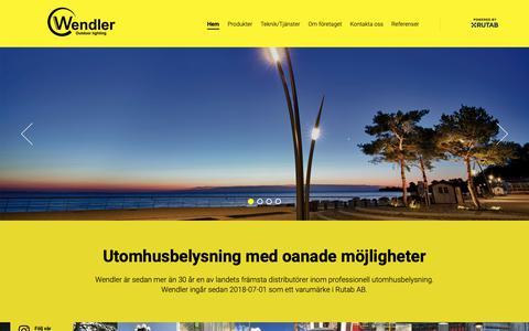 Screenshot of Home Page wendler.se - Utomhusbelysning med oanade möjligheter - Wendler - captured Sept. 27, 2018