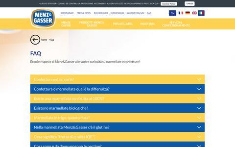Screenshot of FAQ Page menz-gasser.it - Domande e curiosità su marmellate e confetture - Menz&Gasser - captured Aug. 10, 2016