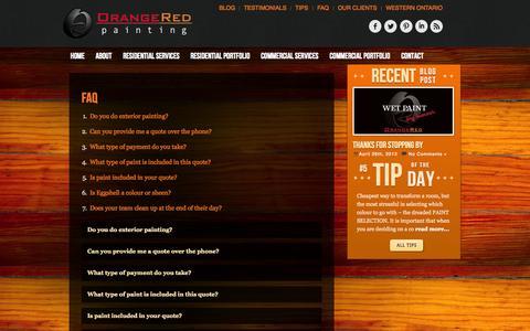 Screenshot of FAQ Page orangeredpainting.com - FAQ - OrangeRed Painting - captured Oct. 26, 2014