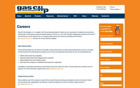 Screenshot of Jobs Page gascliptech.com - Careers - Gas Clip - captured Oct. 2, 2014