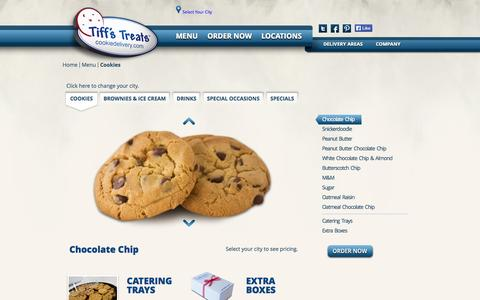 Screenshot of Menu Page cookiedelivery.com - Tiff's Treats - captured Sept. 12, 2014