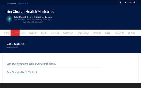 Screenshot of Case Studies Page ichm.ca - Case Studies | InterChurch Health Ministries - captured Oct. 15, 2017