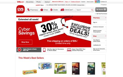 Screenshot of Home Page cvs.com - CVS pharmacy - Online Pharmacy - Shop for Wellness and Beauty Products - captured Dec. 2, 2015