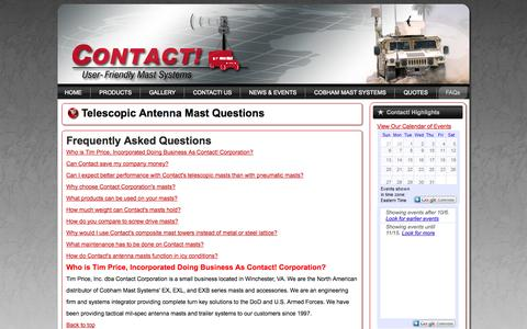 Screenshot of FAQ Page contactcorp.net - Composite Mast Frequently Asked Questions - Contact! Corporation - captured Oct. 7, 2014