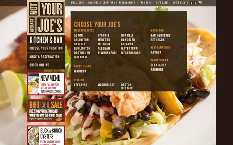 Screenshot of Home Page notyouraveragejoes.com - Casual American Style Restaurant - Not Your Average Joe's - captured Oct. 22, 2015